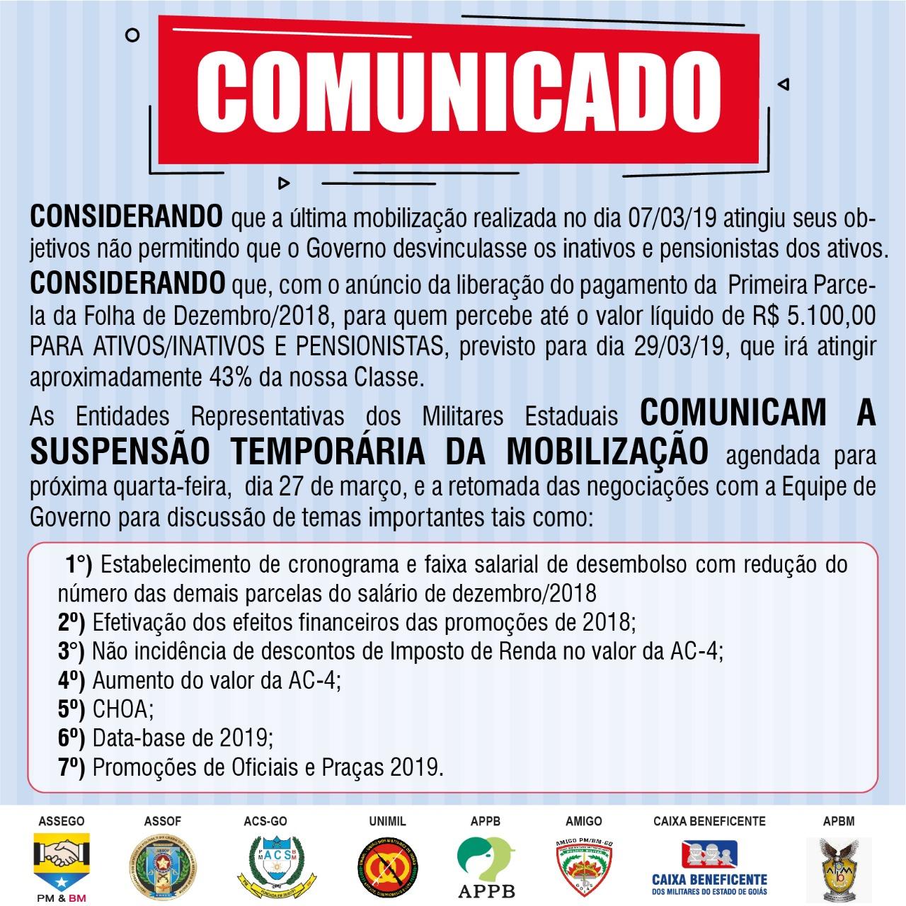 Mobilização do dia 27 de março é suspensa temporariamente