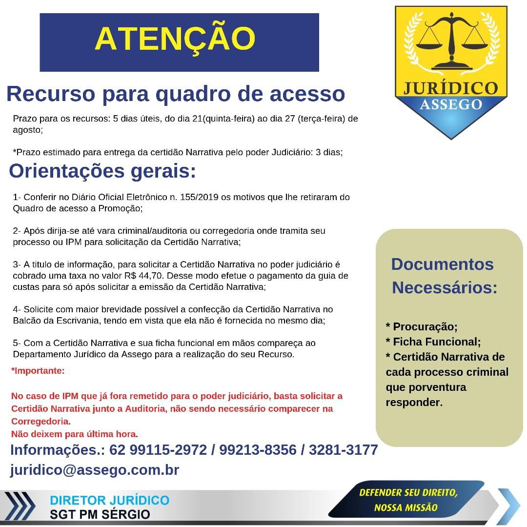 ATENÇÃO! RECURSO PARA QUADRO DE ACESSO!