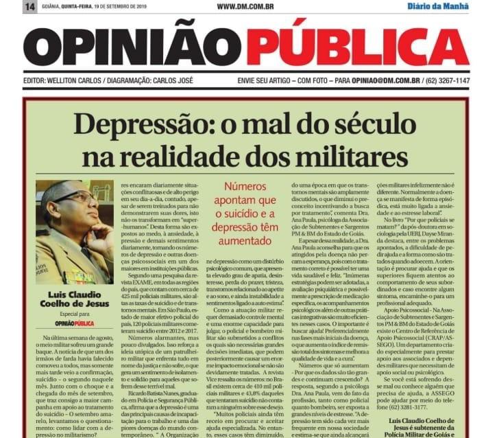 Depressão: O mal do século para os militares estaduais | ASSEGO NA MÍDIA