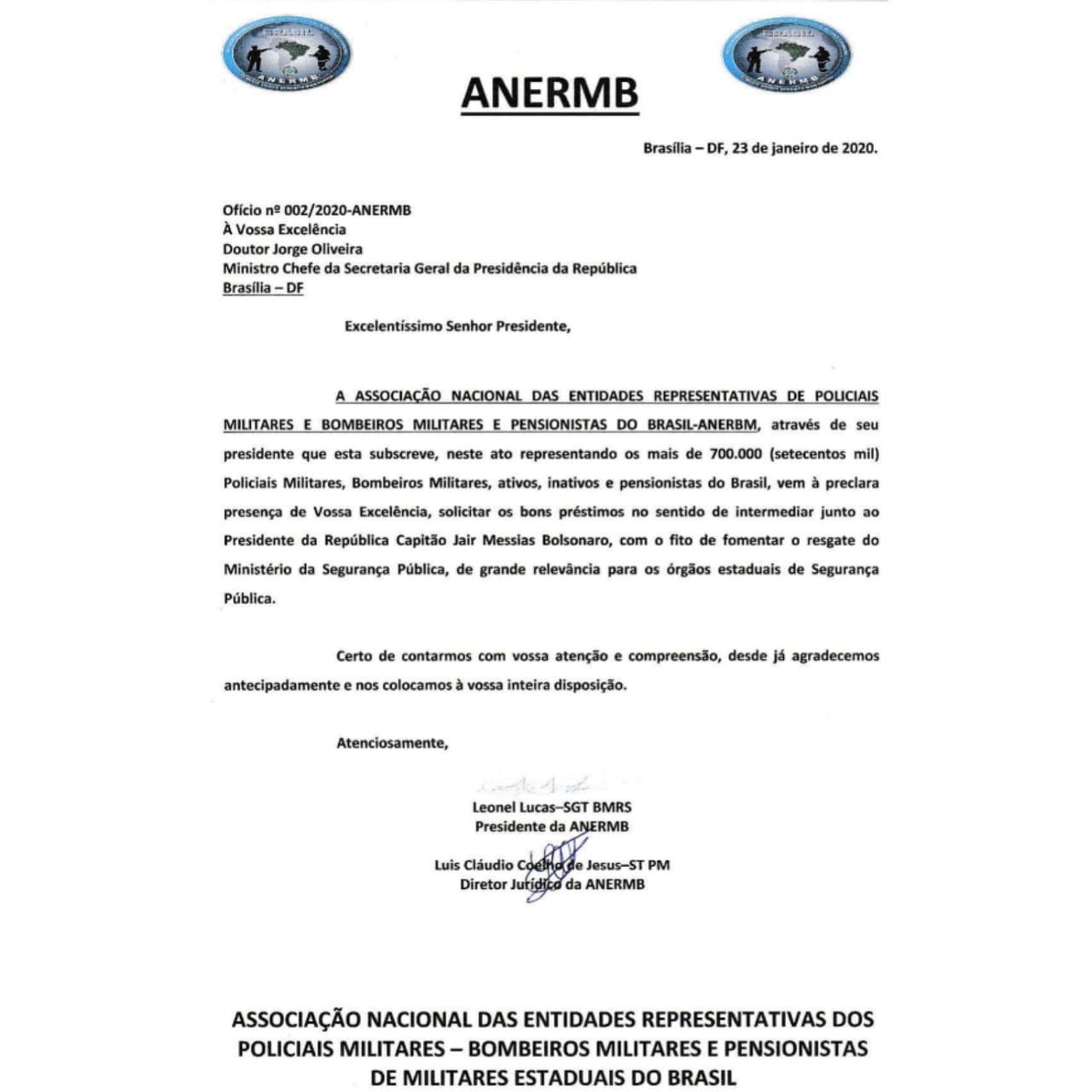 ANERMB se posiciona a favor do retorno do Ministério da Segurança Pública