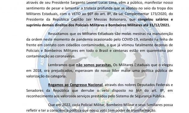 ANERMB publica carta aberta ao Presidente da República e Congresso; LEIA