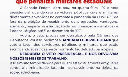 DEPUTADOS FEDERAIS, DERRUBEM O VETO PRESIDENCIAL que penaliza militares estaduais